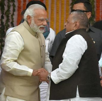Here's one theory about what Mulayam whispered in Modi's ears at Adityanath's swearing in