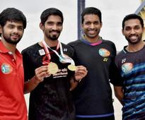 Kidambi Srikanth, B Sai Praneeth, HS Prannoy felicitated by Telangana governor