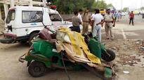 In pics: Auto crushed in Noida road accident, 2 dead, 4 injured
