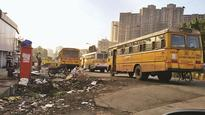 Thane: Widened road becomes illegal parking lot for private school buses