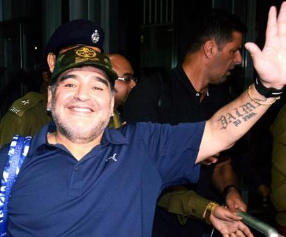 First Look: Maradona arrives in Kolkata sans fan-frenzy