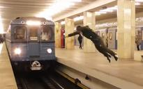 Watch: Foolish prankster risks his life by 'flipping in front of train'