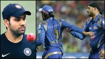 Mumbai Indians captain Rohit Sharma reacts to Harbhajan-Rayudu spat
