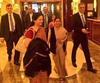 Sushma Swaraj arrives in New York for UNGA, expected to respond to Sharif's Kashmir speech