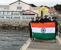 Navika Sagar Parikrama INSV Tarini enters port Stanley Falkland Islands