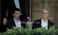 Apple CEO Tim Cook and COO Jeff Williams take a tour of Mehboob Studio in Mumbai