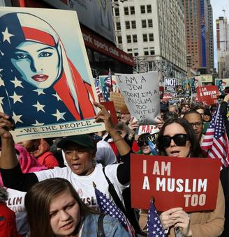 In New York, protesters take to the streets to say 'I Am Muslim Too'