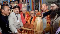 Third time lucky! President Pranab Mukherjee finally reaches Kedarnath