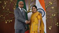 EAM Sushma Swaraj holds 'productive' talks with Maldivian Foreign Minister Mohamed Asim