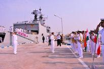 Brahmaputra-class guided missile frigate INS Betwa slips at Mumbai Naval dockyard