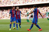 Suarez treble and Messi double lift six-goal Barca