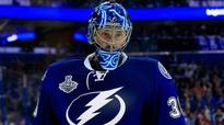 Ben Bishop shows off his new Team USA World Cup mask