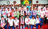 Governor felicitates students