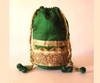 Embroidered Art Silk Potli Bag in Dark Green