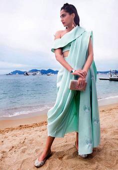 Whoa! Sonam wore a trouser sari to Cannes!