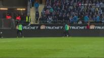 Video: Football player javelin throws corner flag at angry crowd