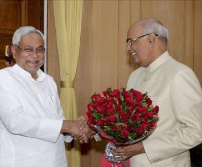 Pranab all praise for 'role model' Nitish-Kovind ties