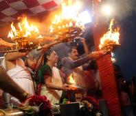First Aarti of river Sabarmati in rain soaked city