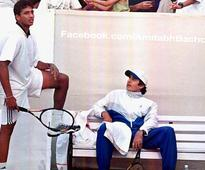 Amitab Bachchan and Mahesh Bhupathi about a charity tennis match