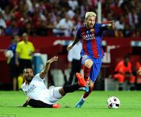 Sevilla 0-2 Barcelona: Luis Suarez and Munir El Haddadi on target as Barca take command in Spanish Super Cup