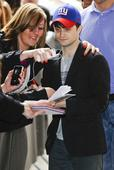 In need of a good night's sleep? Daniel Radcliffe looks worn out as he greets fans at BBC