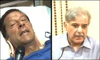 Shahbaz Sharif visits injured Imran Khan in hospital