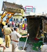 Encroachments from Shahkar Marg removed by Jaipur Municipal Corporation