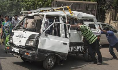 Delhi: 7-yr-old killed, 17 kids injured as tanker hits school van