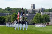 First woman tapped for dean at West Point Cadet color guard on parade at United States Military Academy. Wikimedia Com...