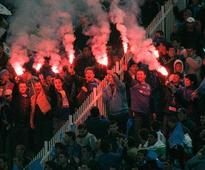 Bulgarian club Levski Sofia fans hurl stones and bottles injuring 8 Police officers