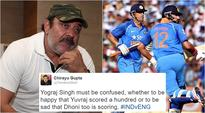 After Yuvraj Singh and MS Dhoni's brilliant partnership, Twitterati are coming up with hilarious Yograj Singh's reactions
