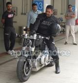 Mahendra Singh Dhoni rides his X132 Hellcat at Buddh International Circuit