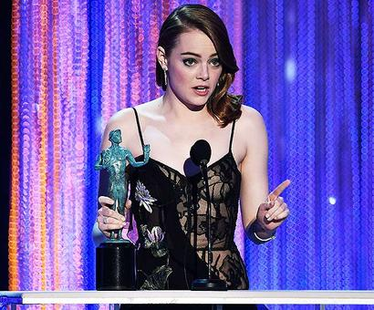 SAG Awards: Emma Stone, Denzel Washington win