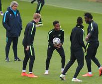 Sergio Aguero, Vincent Kompany, Kevin De Bruyne and Manchester City train ahead of Real Madrid clash - in pictures