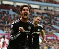 Pato breaks duck as Chelsea rout abject Villa Chelsea's Brazilian striker Alexandre Pato celebrates after scoring from...