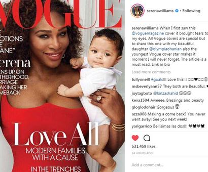 Hot new mommy Serena featured on Vogue cover!