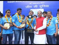 India's T20 World Cup for Blind-winning team felicitated by Sports Minister