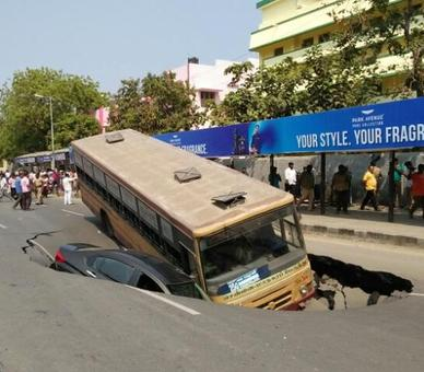 Road caved in on Anna Salai in Chennai