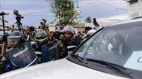 Police blockade opposition gathering in Cambodia