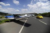 Cessna with engine trouble lands on highway outside Budapest; pair safe