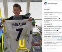 Cristiano Ronaldo Gifts His Jersey to Pierre-Emerick Aubameyang's Son