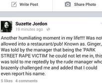 Hotel reportedly denies Suzette Jordan entry for being 'Park Street rape victim'