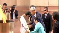 Myanmar President Htin Kyaw pays homage at the Amar Jawan Jyoti