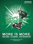 Hitachi Power Tools Introduces A New Triple Hammer Impact Driver, Model WH18DBDL2