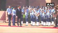 French President Macron inspects guard of honour
