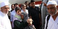 Mehbooba Mufti received the first batch of Haj pilgrims