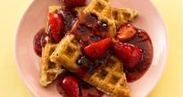 Granola-Whole Wheat Waffles with Double-Berry Sauce To Celebrate National Waffle Day!