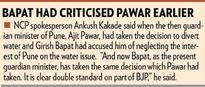 Water for Daund: NCP accuses Girish Bapat of double standards