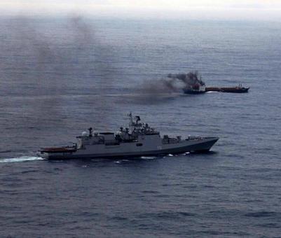 Navy escorting sinking MV Infinity One to Karwar