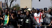 South African police tear-gas student protest